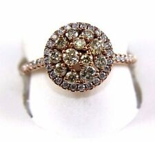 Fancy Yellow Diamond Round Cluster Ring w/Halo 14k Rose Gold .90Ct