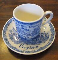 """Jamestown, Virginia Vintage 4.5"""" Decorative Cup & Saucer Sailing Ships"""
