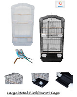 "37"" Rooftop Metal Large Bird Parrot Cage For Canary Budgie Cockatiel 2 Colours"