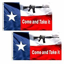 (2 Pack) 3x5 Texas NRA Come and Take it Machine Gun AR-15 Flag 3'x5' Grommets