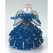 "Safety Pin and Bead Birthstone Angel Kit - SEPTEMBER  - SAPPHIRE BLUE 4"" Tall"