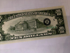 major  Rear Error $10.00 1981unc.seal And A Partial Serial# On The Back Of Bill