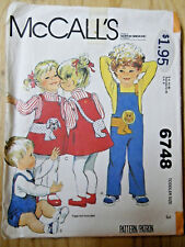 Mc-6748 Toddler Jumpsuit & Jumper Sewing Pattern McCall's Child Size 3 Complete