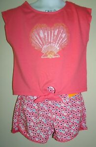 GYMBOREE 4 4T 5 5T 6 MERMAID COVE LOT SET SEASHELL TOP FLOWER SHORTS NEW CORAL