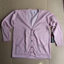 NEW Women's Medium MTA PRO Pink Fleece Lined, Cardigan Cut Sweater - 5 Button