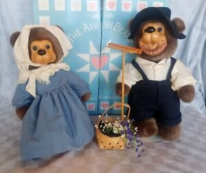 """Robert Raikes Amish Bear Couple Jacob & Katie,18"""", w/orig box, w/Stands & Covers"""