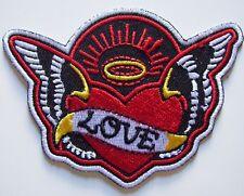 LOVE ANGEL WING Halo Heart iron on patch tattoo rockabilly punk - 66