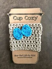 Coffee Cup Cozy-Handmade Crochet Coffee To Go Cup Mug Cozy Sleeve Tan / Blue Bow