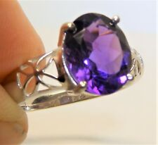 9CT 9 CARAT WHITE GOLD SINGLE STONE OVAL  AMETHYST RING SIZE N