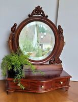 Antique Solid Mahogany Multi Use Beveled Mirror/Drawers Vanity Xclnt Cndtn