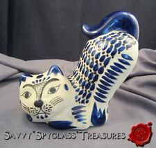 Large Hand Painted Mexican Pottery Cat Figurine Mexico C.O. Tonala?