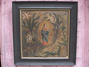 Tableau ancien du XVIIIe: peinture sur cuir à restaurer.