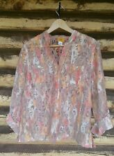 Ruby Road Peach Leopard Top Sz 12 Sheer Button Down 3/4 Sleeve Shirt Mandarin