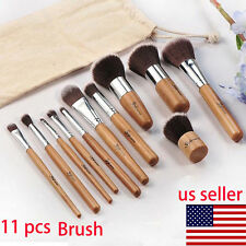 New 11Pcs Eyeshadow Foundation Concealer Makeup Brush Wood/Fiber Cosmetic Set TO