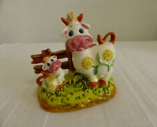 "Vintage 4.75"" porcelain figurine Cow & Calf ornament / Serviette Napkin Holder"