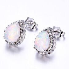 Gems Solid Silver Stud Drop Earrings Water Drop Shaped Rainbow White Fire Opal