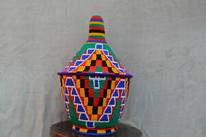 Moroccan Bereber Vintage Colorful grass Basket.
