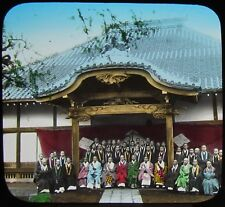 ENAMI Glass Magic Lantern Slide GROUP OF PRIESTS C1920 PHOTO JAPAN