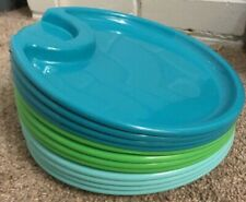 Pampered Chef Outdoor Party Plates - Set of 12 - Light Blue / Green / Turquois