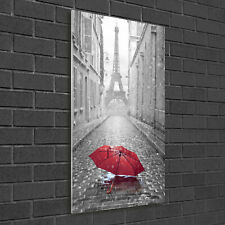 Wandbild Kunst-Druck auf Hart-Glas senkrecht 50x100 Sonnenschirm Paris