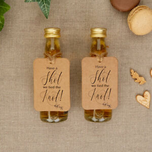Hearts & Crafts x 10 Miniature Bottle Tags Have a shot -we tied the Knot Wedding
