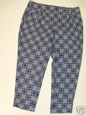 NWT J Crew Printed Crepe Trousers Skimmer Pants Sz 14 Blue White NEW Pleated