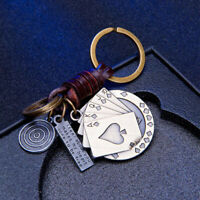 Creative Playing Card Shape Pendant Keychain Charm Metal Purse Bag Keyring CB