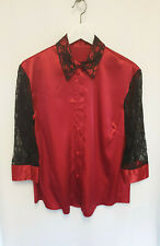 River Island Satin Lace Sleeve Red Shirt Top Size 18