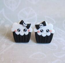 Black and White Birthday Funny Spooky Cupcake Girls Gifts Skull Bow Emo Earrings