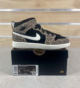 Nike Air Jordan 1 Mid SE (PS) Leopard Cheetah Print Boys Size 2Y / BQ6932-021