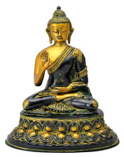 Antique Finish Mediating Lord Buddha Brass Statue (5661) - Free Shipping