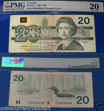 CANADA , 1991  PMG 20 , <>  RADAR  Bank Note <> 2 DIGIT <>8488848