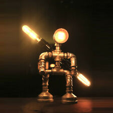 Industrial Pipe Style Fighting Robot Table Lamp 3-light Steampunk Desk Lamp 12""