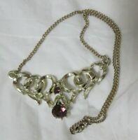 Vintage Gold Tone Purple Rhinestone Necklace