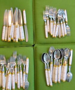 VINTAGE FRENCH BISTRO FLATWARE - 57 PIECES- WHITE/BRASS/STAINLESS