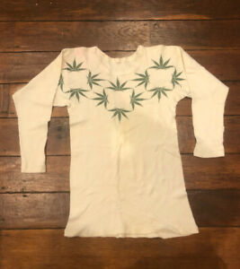 Vintage 70s S Long Sleeve Shirt Small Ribbed Thermal Weed Stoner Surfer