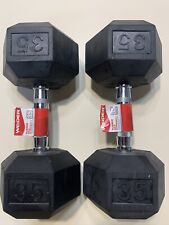 35lb Weider Dumbbell Pair Rubber Coated Hex Weight Set 70lb total FREE FAST SHIP