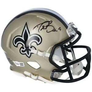 DREW BREES Autographed New Orleans Saints Speed Mini Helmet FANATICS