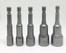 "5 Magnetic 1/4 5/16 3/8 7/16"" 1/2"" Nut Driver Set Quick Rapid Release Hex Shank"