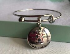 Cancer Awareness Stainless Steel Charm  Expandable Bangle Bracelet