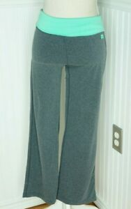 Nike Fold over Waist Yoga Pant Size L Gray Blue