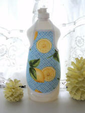 Lemons on Blue Gingham Kitchen Liquid Dish Soap Lotion Bottle Apron - fits 25oz