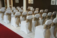 100x Hessian Chair Sashes Covers Bows Jute Burlap Vintage Rustic Wedding Decor