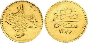 EGYPT - OTTOMAN , GOLD 5 PIASTRES SULTAN ABDUL AZIZ 1277/3 AH ( LE ) , RARE