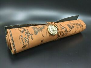 Leather Tool Roll Treasure Map Style Small Pen Roll with Metal Accent Wrap - New