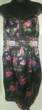 TORRID plus size 16 Floral Print Dress Corset Top black pink