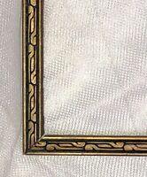 """Art Deco VTG Carved Wood Picture Frame Gold Black Fits 12"""" X 9"""""""