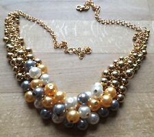 Statement Faux Pearl Bead Collar Chain Chunky Necklace