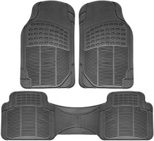 Floor Mats for SUVs Trucks Vans 3pc Set All Weather Rubber Semi Custom Fit Grey