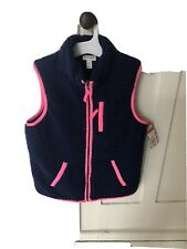 Nwt Cat And Jack Girls Blue Pink Fleece Sherpa Zip Up Vest Size 10-12 S.Soft